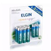 10 Blister C/ 6 Pilhas Alcalina Aa + 2 Pilhas Aaa Elgin