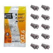 """10 Capas protetoras """"Snap In"""" Cinza + 10 Conectores RJ45 Cat6 Furukawa"""