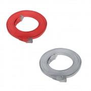 10 Patch Cord Flat Cable RJ45 Flexível Cat6 3m Vermelho + 10 Patch Cord Flat Cable RJ45 Flexível Cat6 3m Cinza