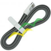 10 unidades Cabo USB com imã para carregamento achatado 1,2M para LIGHTENING IPHONE - CINZA EXBOM