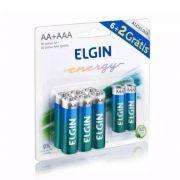 10 Unidades de Pilhas Alcalina Elgin Pacote Com 6 AA + 2 AAA ELG0014