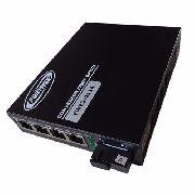 Kit Conversor de Fibra Optica MM e SM 10/100 1 FO SC 04 RJ45 FWE2-411 AeB sem POE