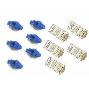 Kit 100 Capas Snap In Protetoras Azul E 100 Plugs Rj45 Cat5e