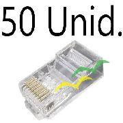 50 Unid Conector Crimpar Rj45 8 Vias Rede Cat 6 Plug Macho