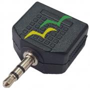 3 Peças Adaptador Duplicador de Audio P2 35M / 2X35M Femêa