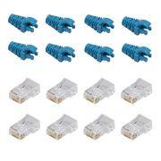 "50 Capas protetoras ""Snap In"" Azul Claro e 50 Conectores RJ45 Cat5e SOHO PLUS."