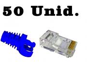 """50 Capas protetoras """"Snap in"""" azul escuro + 50 Conectores RJ45 Cat6 Pier"""