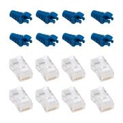 "50 Capas protetoras ""Snap In"" Azul Escuro e 50 Conectores RJ45 Cat5e PMC"