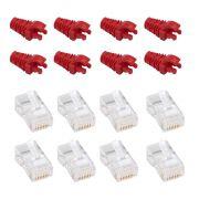 "50 Capas protetoras ""Snap in"" vermelha + 50 Conectores RJ45 Cat5e PMC."