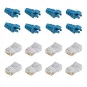 50 Capas Snap in Azul Claro + 50 Conectores RJ45 Cat5e Sohoplus