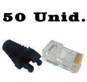 """50 Capas protetoras """"Snap in"""" preto + 50 Conectores RJ45 Cat6 Pier."""