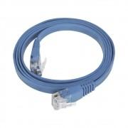50 Unidades Patch Cord Flat Cable  RJ45 Flexível Cat6 1m Azul