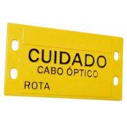 50 unidades Plaqueta de Identificação 3mm (9x4cm) em plástico c/ Relevo amarela