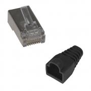 5 Unidades de Conector Macho Blindado Plug RJ45 Cat6 + 5 Capinhas Pretas Boot