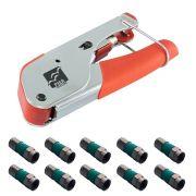 Alicate de Compressão para Coaxial RC59 e RG6 XT588 + Conector RG 06 de Compressão CATV tipo F