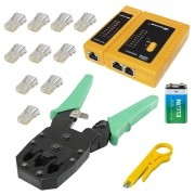 Alicate de Crimpar RJ45 RJ12 e RJ11 verde + Decapador + Testador de Cabos + Bateria 9V + 10 conectores RJ45 Cat5e