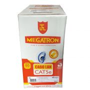 Cabo Lan UTP 4 pares Cat5e 100% cobre Megatron Azul - Caixa 305m
