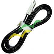 Cabo USB com imã para carregamento achatado 1,2M para LIGHTENING IPHONE - PRETO EXBOM