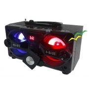 Caixa Bluetooth 10Watts Super Bass com visor SD USB FM mini system (não acompanha carregador) - PRETO  EXBOM
