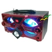 Caixa Bluetooth 10Watts Super Bass com visor SD USB FM mini system (não acompanha carregador) - VERMELHO - EXBOM
