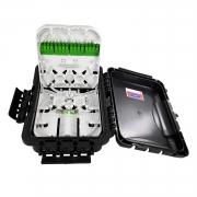 Caixa CTO Completa Com 2 Entradas e 16 Saídas Fechamento Trava com Fixação para Cordoalha com Anatel C/ Splitter 1x16 e Adaptadores SC/APC Verde