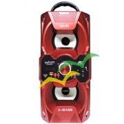 Caixa de Som Bluetooth 12Watts Torre Super Bass com visor SD/USB/FM e dois plugs p/ Microfone M267BT - VERMELHA- EXBOM