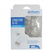 Conector plug RJ45 cristal 8P8C Cat5e EXBOM caixa com 100 unidades