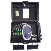 CTO - Caixa Plástica de terminação óptica 16F (montada c/ Splitter 1x8 e Adaptadores SC APC VERDE)