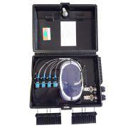 CTO - Caixa Plástica de terminação óptica 16F (montada c/ Splitter 1x8 e Adaptadores SC PC AZUL)