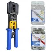 FER0069 Alicate de Crimpar + POT0003 Conector Cat6 + POT0005 Cat6 Blindado