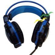 Fone GH-X30 Headfone Game com Microfone Luz Led Colorido Cabo Reforçado Revestido Silicone - Azul