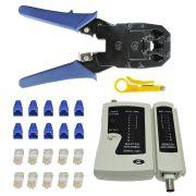 Kit 43 - Alicate Crimpar RJ45/11/12 HYX + Testador De Cabos + 10 conectores RJ45 c/ Protetor