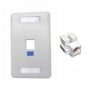 Kit 5 Espelhos 4x2 fixo branco com 01 Saida + 5 Keystone RJ45 cat5e