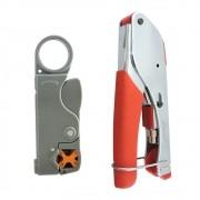 Kit Alicate Compressão E Decapador Coaxial Rg59 E Rg6 Hy332