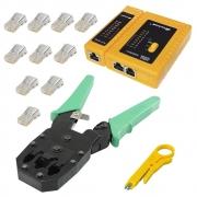 Kit Alicate Crimpar Cabos de Rede Rj11 RJ12 RJ45 com 10 Conectores Plug Macho RJ45 CAT5e e Testador de Cabos com Leds