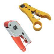 Kit - Alicate Decapador Universal de Cabos UTP / STP / Coaxial Amarelo HT-310 + Alicate de Compressão para Coaxial RC59 e RG6 XT588