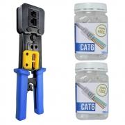Kit com 1 Alicate de crimpar EZ Crimp FER0069 + 2 Potes com 100 conectores Cat6 cada