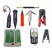 Kit com 8 Ferramentas para Rede e Telefonia Badisco com Identificador de Chamadas e display digital