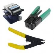 Kit Ferramentas Fibra Óptica 3 peças - Clivador + Decapador de acrilato + Decapador de cabo flat drop