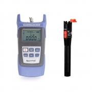 Kit Optical Power Meter Medidor de potência de fibra óptica + Caneta Laser de Teste para Fibra Óptica 10mW