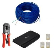 Kit Rede Switch 8 Portas 50 Mts Cabo + Alicate + 50 Plug R45