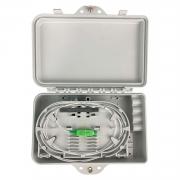 Mini Caixa CTO Vazia Com 4 Entradas Branca (Completa C/ Splitter 1x4 e Adaptadores SC/APC Verde)