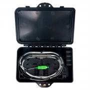 Mini Caixa CTO Vazia Com 4 Entradas Preta (Completa C/ Splitter 1x4 e Adaptadores SC/APC Verde)