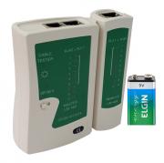 Testador de cabos de rede RJ45 com Leds + bateria Alcalina Elgin