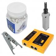 Testador De Cabos + Punch Down + Decapador + Pote 100 Conectores Rj45 Cat5e - PMC