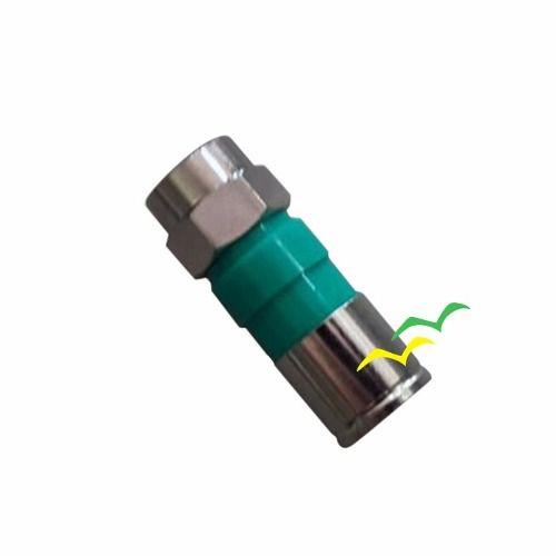 Conector RG 06 de Compressão CATV tipo F - Verde