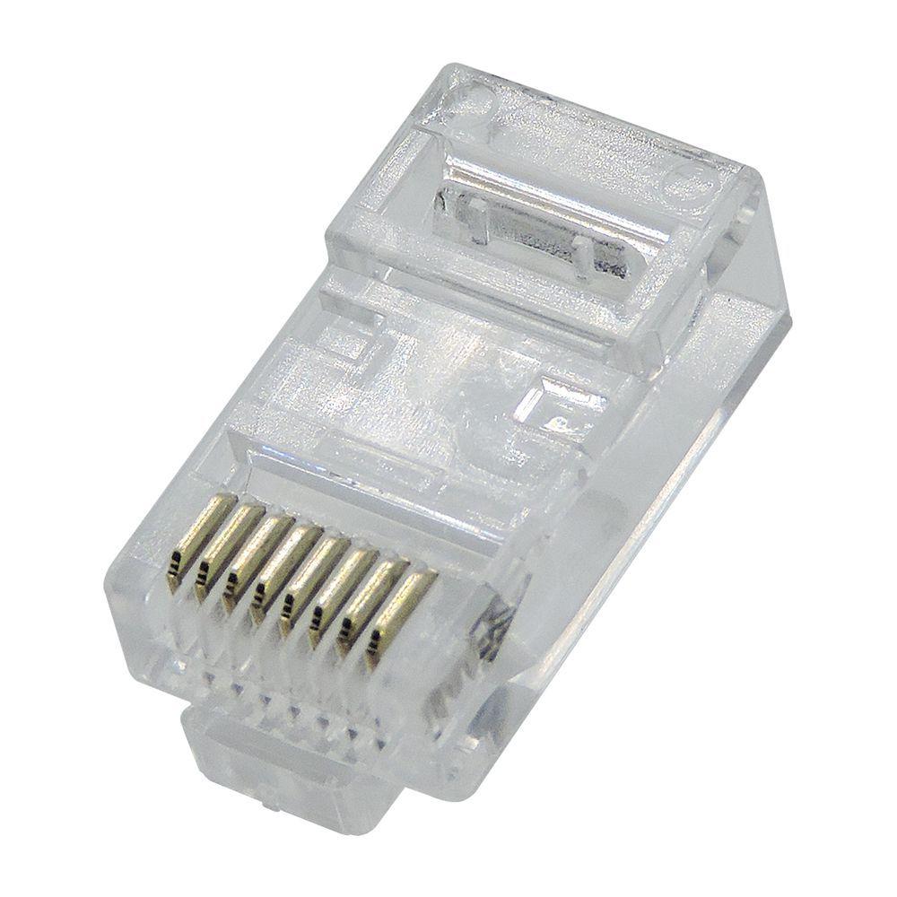 200 Peças de Conector para cabo de rede Ez-RJ45 Vazado Cat5e EZ Crimp - Refil