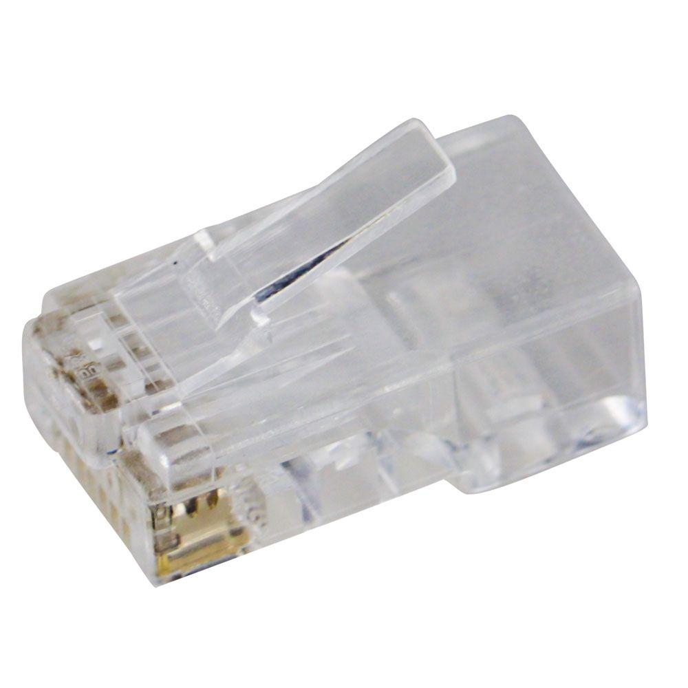 200 unidades do Conector Lan Macho Plug Rj45 8x8 Cat6 Transparente Pier Telecom