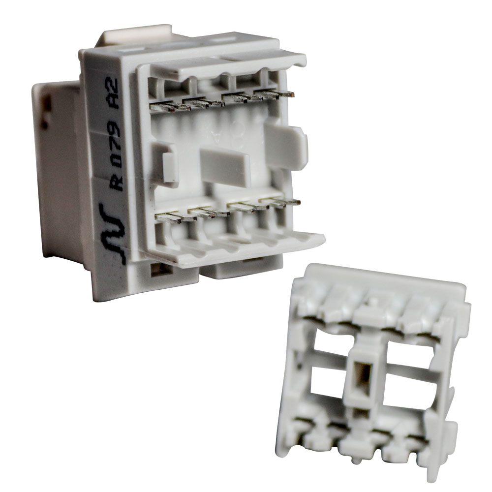 20 Unidades de Conector Femea Rj45 Keystone Cat 6 Branco Tomada de Rede de Dados e Voz - Nexans