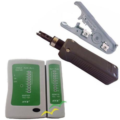 Kit Testador De Cabos De Rede + Punch Down + Cinza escuro s/ regulagem HY324B - GCT + Decapador Universal